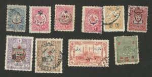 TURKEY - 10 USED STAMPS - TYPE - VARIETY OF COLOR