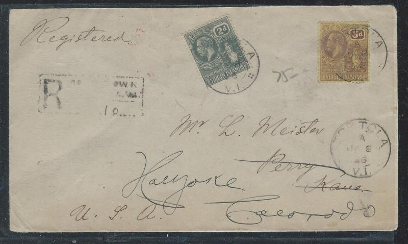 VIRGIN ISLANDS (P12103B)  KGV 2D+3D ON 1926 REG COVER TO USA