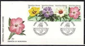 Micronesia, Scott cat. 228 A-D. Flowers issue. Hibiscus. First day cover.