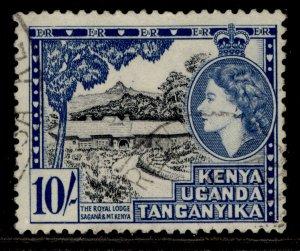 KENYA UGANDA TANGANYIKA QEII SG179, 10s black & deep ultramarine, FINE USED.