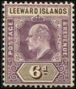 Leeward Islands SC# 35 Edward VII 6d MH wmk 3