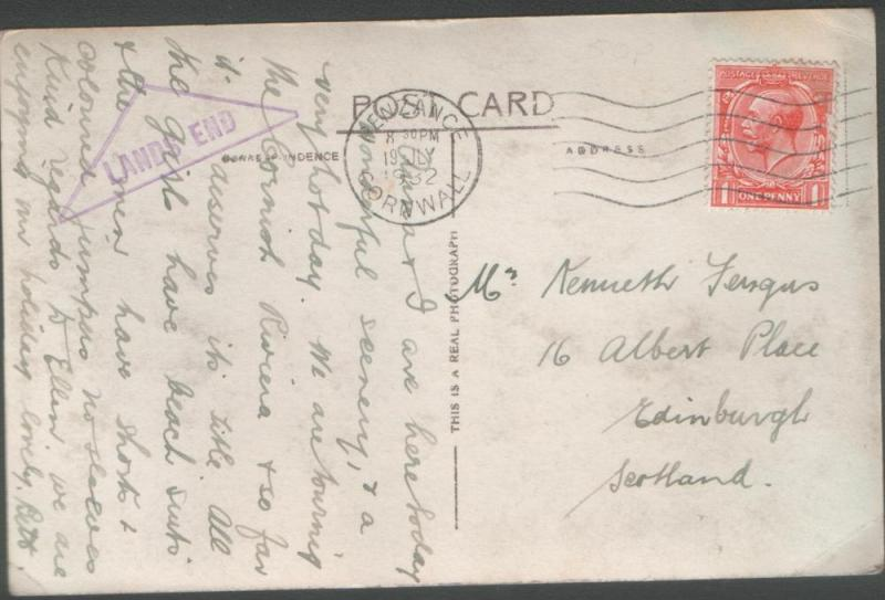 Great Britain 1932 PC with LANDS END cachet