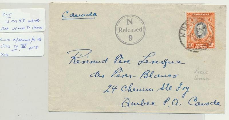 UGANDA (MBARARA) TO CANADA 1943 LOCAL CENSOR (#N9) COVER, 20c RATE(SEE BELOW)