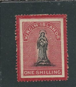 BRITISH VIRGIN IS 1867 1s BLACK & ROSE-CARMINE  LONG TAILED S MM SG 19a CAT £225