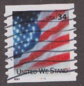 US #3550 United We Stand Used PNC Single plate #1111