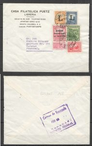 A0548 1952 COLOMBIA TO VENEZUELA ARCHITECTURE OVERPRINT AIR MAIL VERY RARE FDC