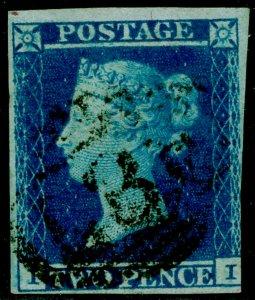 SG15, 2d deep full blue, USED. Cat £110.