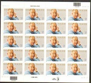 US #3659 Mint Sheet Ogden Nash
