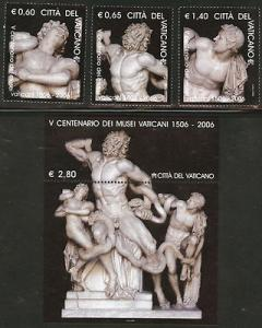 VATICAN Scott 1338-1341 MNH** 2006 mini sheet and  stamp set