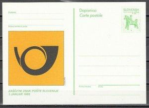 Slovenia, 1993 issue. Green Flute Postal Card. ^
