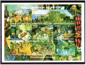 Senegal 1999 Sc#1414 Paintings by Paul Cezanne Sheetlet (9)  IMPERFORATED MNH
