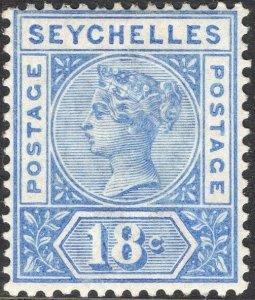 SEYCHELLES-1897-1900 18c Ultramarine Sg 31 LIGHTLY MOUNTED MINT V50065
