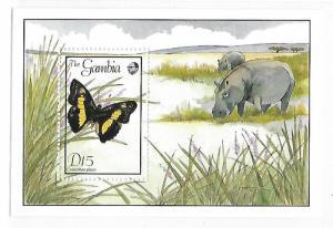 Gambia 1989 Indigenous Butterflies S/S MNH C3