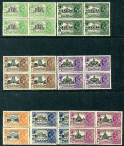 INDIA-1935 Silver Jubilee Set Mint Blocks of 4 Lower Stamps Unmounted Sg 240-46