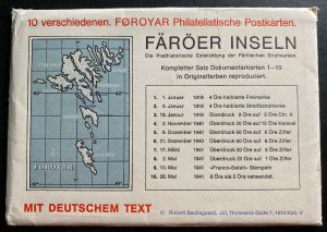 1975 Faroe Island Denmark 10 Postcard First Day Covers Collection Lot