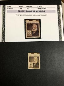 893 .10 Alexander Graham Bell  Superb  Graded 98 Mint Never Hinged