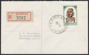 PAPUA NEW GUINEA 1965 2/3d Mask on reg cover - RELIEF 4 cds ex Kandrian.....H149