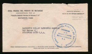 CUBA US 1930S OFFICIAL COVER FROM FREE ZONE OF MATANZAS