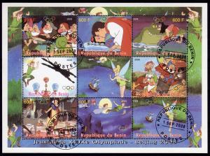 WHOLESALE LOT : 10 x BENIN Disney Characters /Olympics Sheetlet (9) Fine Used