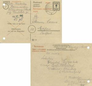 Germany Soviet Zone 6pf Numeral Postal Card Cyrillic text in red with black L...