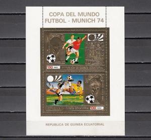 Eq. Guinea, MI cat. 409, BL121 A. Soccer s/sheet o/printed.