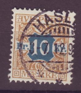 J16647 JLstamps 1907 denmark perf 13 used #p10 newspaper stamp $45.00 scv