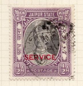 India Jaipur 1930s Early Issue Fine Used 1/2a. Optd 272972