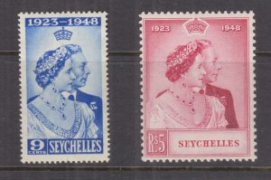 SEYCHELLES, 1948 Silver Wedding pair, mnh.