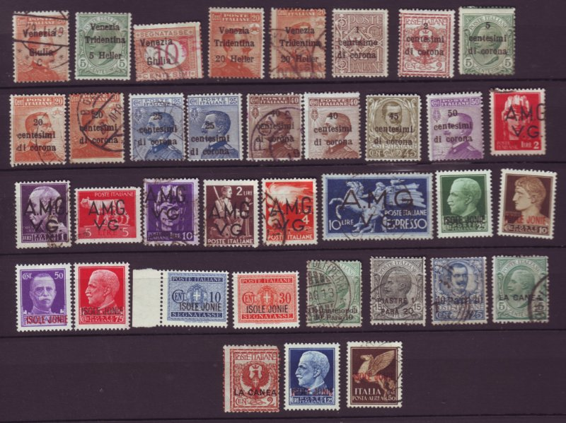 J22619 Jlstamps  old unchecked most dif italy mh/used ovpt stamps, cond.varies#