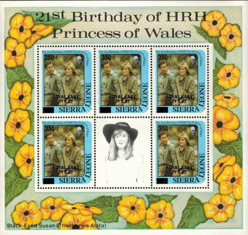 Sierra Leone MNH S/S Princess Diana & Black-Eyed Susan Flowers