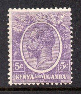 Kenya Uganda 1922 KGV 5c dull violet SG 77 mint