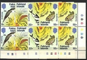 FALKLAND IS 1984 Marine life set plate blocks of 4 MNH.....................93831