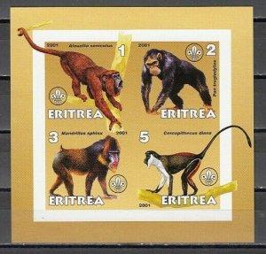 Eritrea, 2001 Cinderella issue. Monkeys on an IMPERF sheet of 4. *
