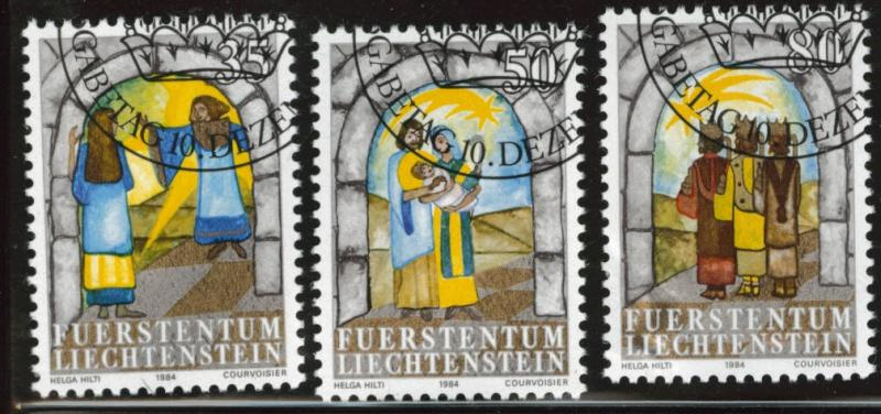 LIECHTENSTEIN Scott 801-803 Used CTO Christmas 1984 1 thin