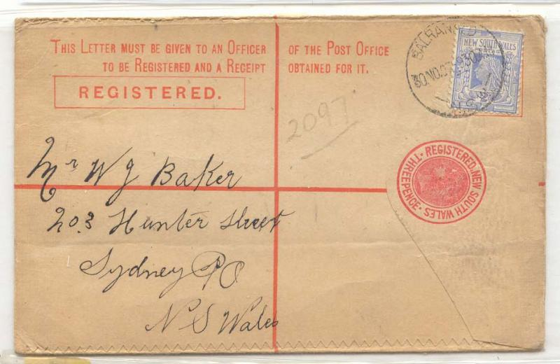 Australia New South WAles registered envelope 1907 Scarce (A