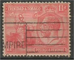 TRINIDAD AND TOBAGO, 1922, used 1 1/2p, George V  Scott 23