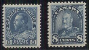 CANADA #115, 171 8¢ blues, both og, NH, VF, Scott $147.50