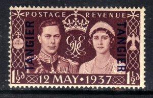 Tangiers 1937 KGV1 1 1/2d Brown Coronation GB Ovpt Umm SG 244 ( J288 )