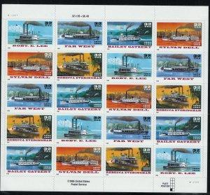 US Scott 3095a Full Sheet! River Boats! MNH!