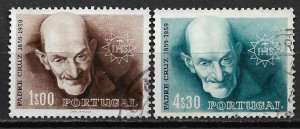 1960 Portugal 855-6 Padre Cruz, Father of the Poor C/S of 2 used SCV$6.50