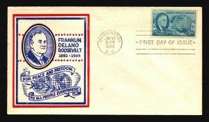 US SC# 933 FDC / FDR Peace & Freadom Cachet - Z18487