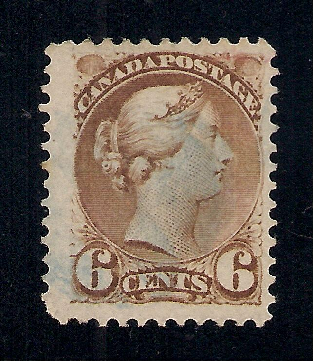 Canada #39 Yellow Brown - Light Blue Cancel