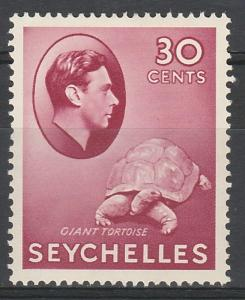 SEYCHELLES 1938 KGVI TORTOISE 30C