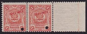 PERU 1909 OFFICIAL 1c PAIR optd SPECIMEN in red + security punch hole......7971