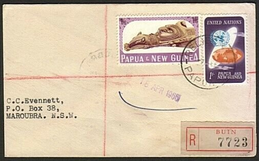 PAPUA NEW GUINEA 1966 Reg cover - Relief No.5  cds used at Buin............74192