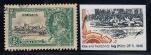 Grenada, SG 145l, used Kite & Horizontal Log variety