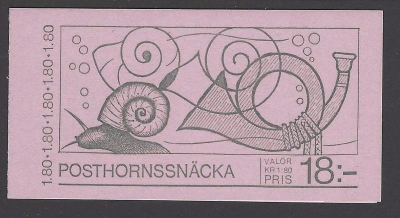 Sweden 1983 Snails  Booklet VFMNH (1468a)