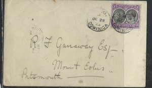 DOMINICA  COVER (P1902B)  1929 KGV 1D BOAT ON COVER TO PORTSMOUTH