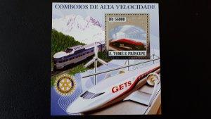 Trains and locomotives - Sao Tome and Principe 2006 - Bl silver ** MNH