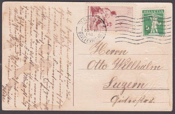 SWITZERLAND 1912 Pro Juv forerunner 10rp on postcard ex St Gallen............323